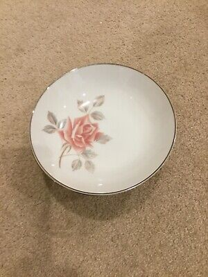 Noritake Rosemist sweet dishes silver rim & rose detail