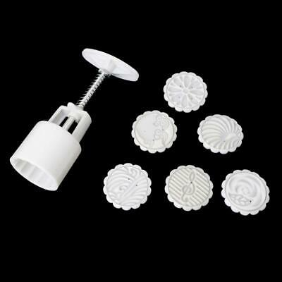 Moon Cake Mould Mold Hand Pressure Flower Decor Motif Pastry 50g Round &6 Stamps