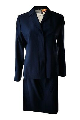 MARKS & SPENCER Navy Blue Pinstriped Skirt Suit (10/12)