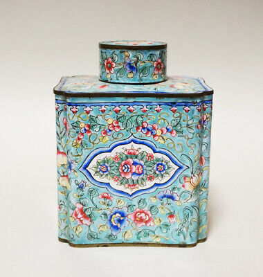 Antique Chinese China Canton Tea Box Caddy Enamel Qing Dynasty