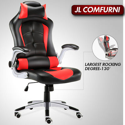 Luxury Executive Home Office Chair Gaming Racing Adjustable Swivel PU Leather