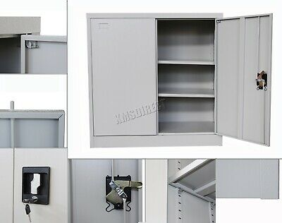COSMETIC DAMAGED FoxHunter Lockable Filing Cabinet Steel Office FCS04 Grey