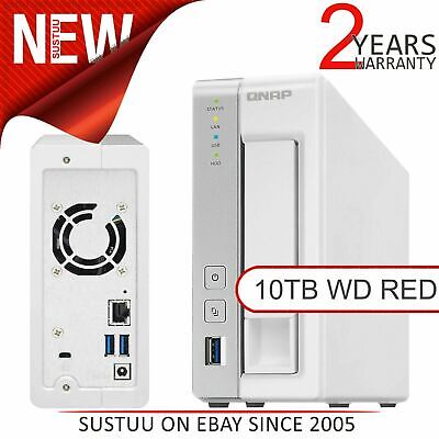 QNAP 1 Bay Desktop NAS Unit│10TB WD RED Hard Drives│Storage Device with 1GB RAM