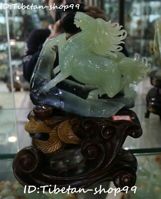 Natural Xiuyan Green Jade Fengshui Running Horse Horses Success Animal Statue