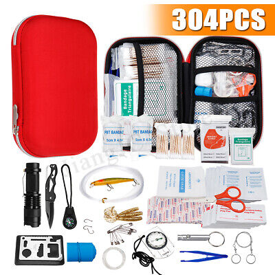 304Pcs Upgraded Emergency Survival Kit Outdoor Sports Tactical Hiking Camping AU