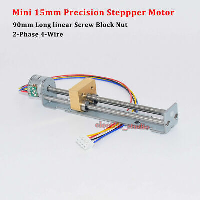 90mm Long Linear Screw Nut Slider DC 5V 2-phase 4-wire Micro 15mm Stepper Motor