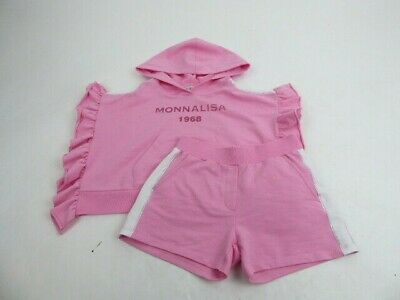 Monnalisa Girls Pink Outfit Set Shorts & Sweatshirt Short Sleeve Age 10 Years