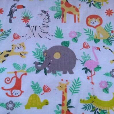 BABY JUNGLE ANIMALS,ZOO, NURSERY, mixed cotton fabric sold/PER METRE/