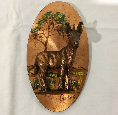Retro Vintage Gastone Copper Wall Hanging Picture 3D Zebra Zimbabwe 1970s