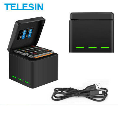 TELESIN For GoPro DJI Osmo Action Battery Charger 3 Solts Charging Storage Box