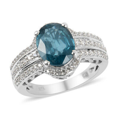 925 Sterling Silver Kyanite Cubic Zirconia CZ Promise Ring Size 6.5 Ct 4.2
