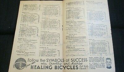 Circa 1940's Bicycle Race Programme Healing Bicycles Sennits Ice Cream Advertise