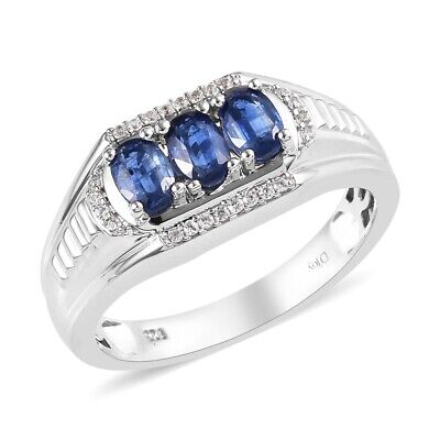 925 Sterling Silver Kyanite Cubic Zirconia CZ Promise Mens Ring Jewelry Ct 2