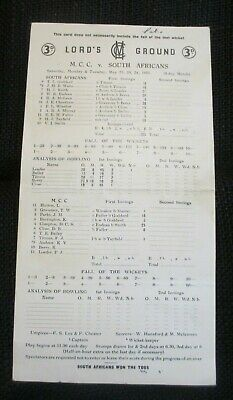 1955 Lord's Ground Marylebone Cricket Club V. South Africans Score Card & Inform