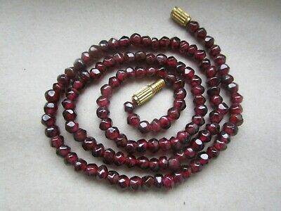 Antique Vintage Art Deco Bohemian Garnet Cut Beads Necklace  16g