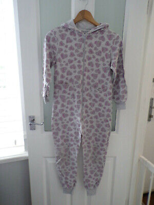 WORN ONCE Girls Grey sweat 'HEARTS' one piece jump suit play  age 10-11 years