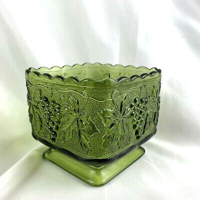 Vintage Square Indiana Glass Footed Dish Bowl Green Grapes Grapevine Candy