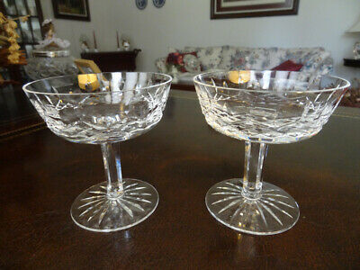 "Waterford Crystal Lismore 2 Champagne / Dessert Glasses  4 1/8"" Made In Ireland"