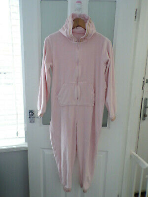WORN ONCE Girls baby pink velour one piece zip gold trim 11 years -  Matalan