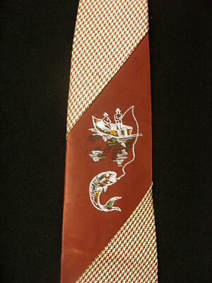 Vintage 1950'S-1960'S Silk Hand Painted Fishing Tie