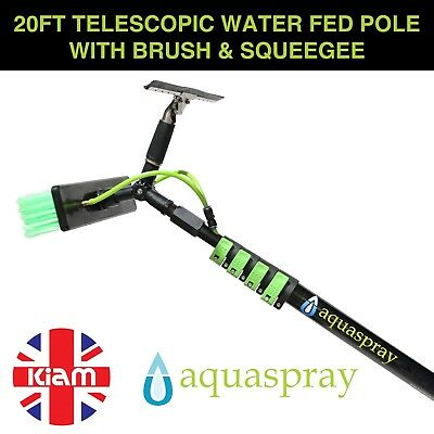 Window Cleaning Pole Lightweight 20ft Telescopic Water Fed + Squeegee atachment