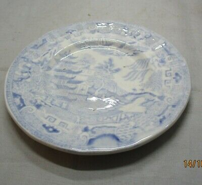 Small pale blue and white Oriental pattern plate