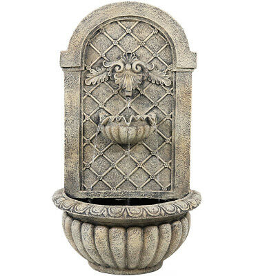 Sunnydaze French Limestone Venetian Solar/On Demand Outdoor Wall Water Fountain