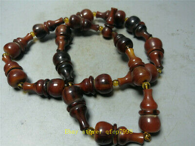"1.57"" Chinese Exquisite Ox horn Hand-carved gourd shape beads Necklace"