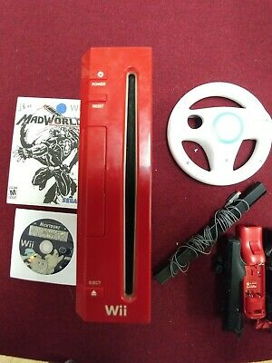 Nintendo Wii Red Console and 3 wii-motes parts Replacement/ sensor bar, 2 games