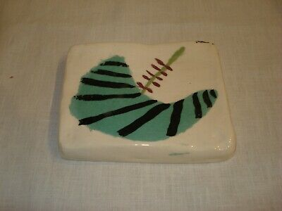 Vintage Mid Century Modern Hand Painted Abstract Ceramic Art Tile Trivet