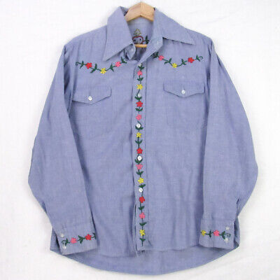 Vintage 70s Denim Chambray Embroidered Oaxacan Floral Hippy Shirt L Blue Mexican