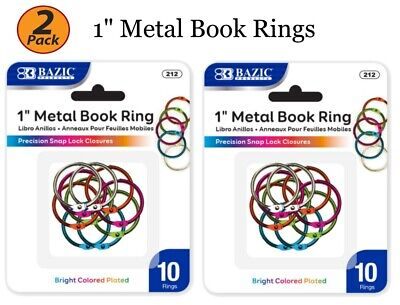 2 Pack - 1 Inch Metal Assorted Color Book Rings 10 Pieces Per Pack - US SHIP