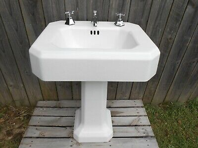 1936 Antique Cast Iron Porcelain Pedestal Bath Sink No. 3 Vintage Kohler