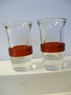 2 Vintage Deco Shot Glasses RED Celluloid Band  BLADE RUNNER Star Trek