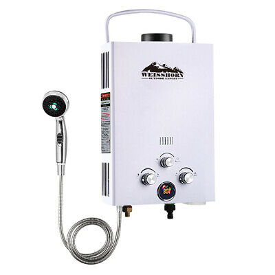 WEISSHORN Gas Hot Water Heater Portable Shower Camping LPG Outdoor White 4WD