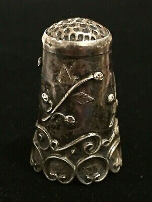 Vintage Taxco Thimble Sterling Silver 925 Floral Leaves Tendrils Flower Design