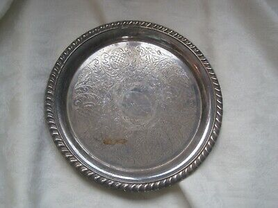 Small Silver Plated Tray 21Cms With Engine Turned Design Vintage Antique