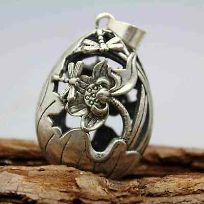 Collection China Miao Silver Hollow Out Carving Dragonfly & Lotus Noble Pendant