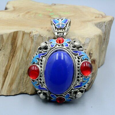 Collect China Old Miao Silver Handwork Inlay Blue Agate Bring Good Luck Pendant