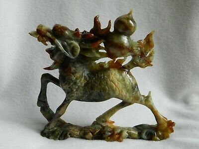 Jade Hand Carved Green Chi Lin Chinese Dragon Horse Statue- 1,084 Grams