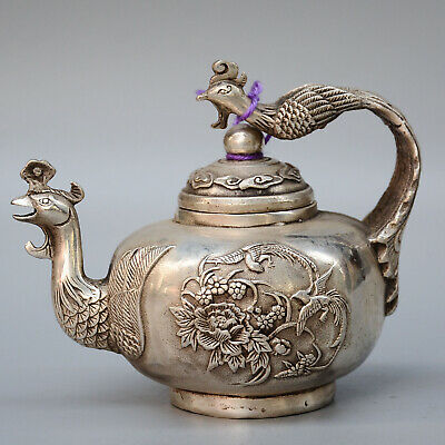 China Daming Years Collection Hand- Carved Old Miao Silver Carved Phoenix Teapot