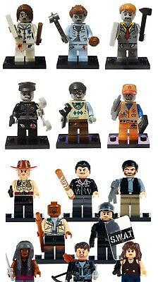 6 8 pcs the walking dead Man Mini Figures NEW UK Seller Fits Major Brand Blocks