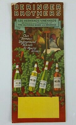 Vintage Beringer Brothers Los Hermanos Vineyard California Brochure & Map