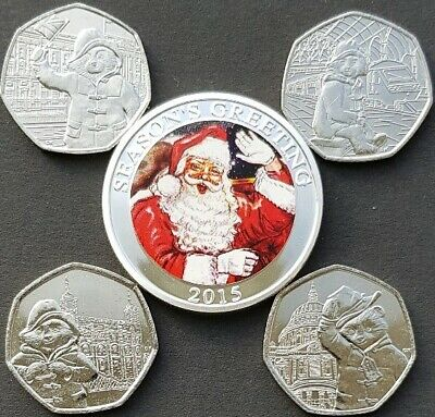 PADDINGTON BEAR 50p COINS AT ST PAUL'S CATHEDRAL + ALL 3 OTHERS + CHRISTMAS COIN