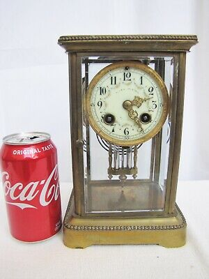 Antique French Japy Freres Brass Crystal Regulator Clock.