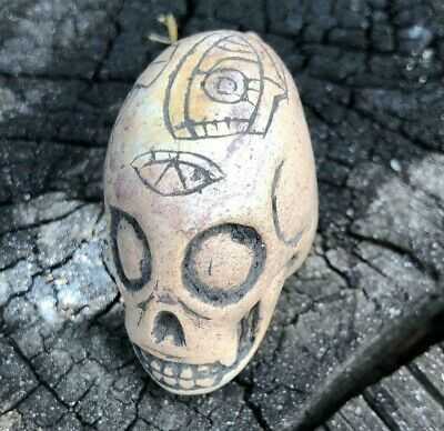 Ancient Pre-Columbian Ojuelos de Jalisco Alien Skull Very OLD Genuine!