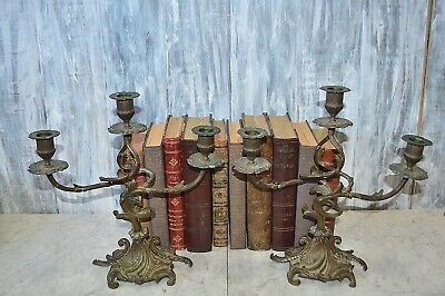 Antique Pair French Bronze Candelabras Three Arm Candle Holders Art Nouveau