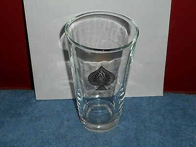 Bicycle Playing Cards Ace Of Spades Beer Pint Glass Vintage 1960'S Advertising