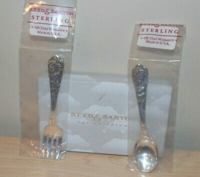 """Reed & Barton """"Pet"""" Sterling Silver Baby Fork Spoon Set Sealed With Box Unused"""