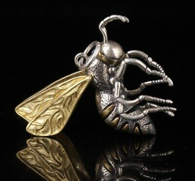 Preciou China 925 Silver Statue Pendant Bee Model Gift Collection Mascot Old
